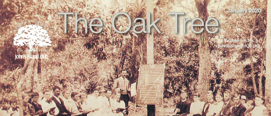 The Oak Tree magazine cover with logo over 1800s vintage image of John's Islanders