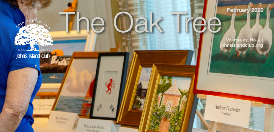 The Oak Tree magazine logo over photo of local art show
