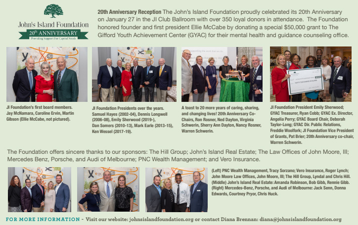 Vero Beach magazine article title with photo of John's Island Foundation founder Ellie McCabe
