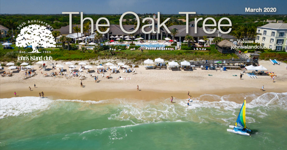 The Oak Tree magazine logo over photo of beach with cabanas and people