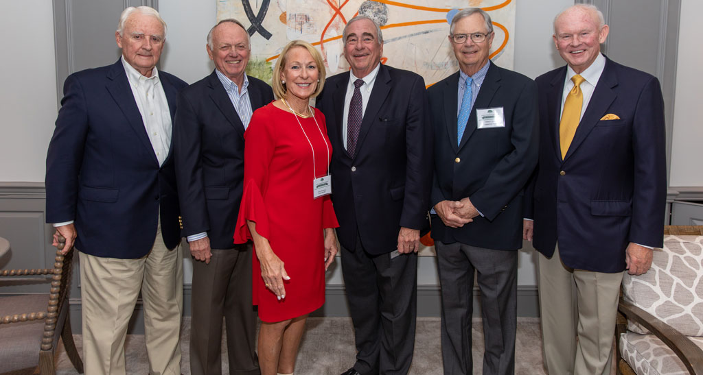 John's Island Foundation 2020 Board Members Emily Sherwood with past presidents. From left to right: Sam Hayes, Dennis Longwell, Dan Somers, Hubert (Mark) Earle, Ken Wessel